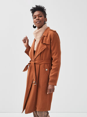 Trench fluide long ceinture marron femme