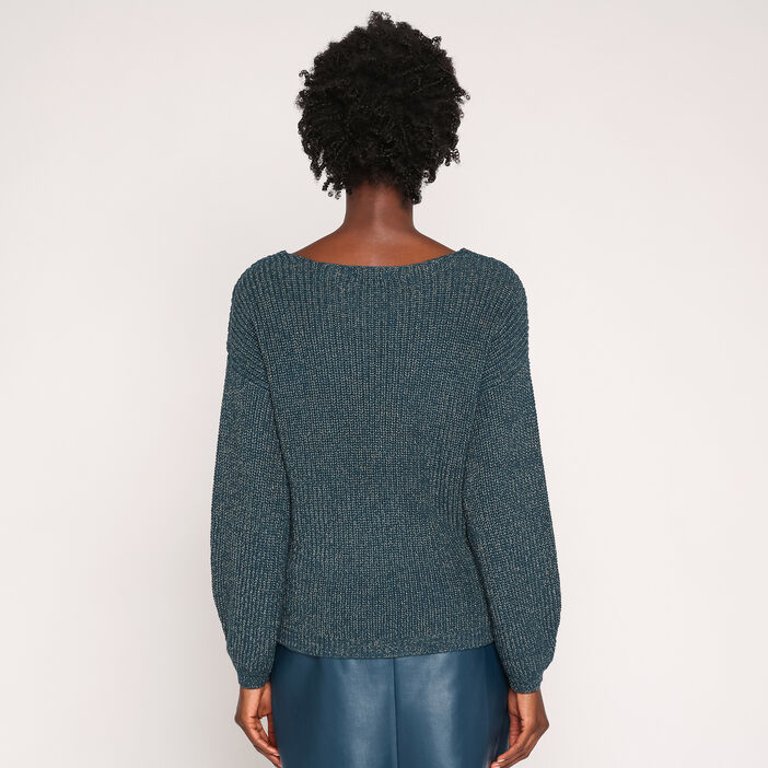 Pull manches longues maille scintillante bleu canard femme