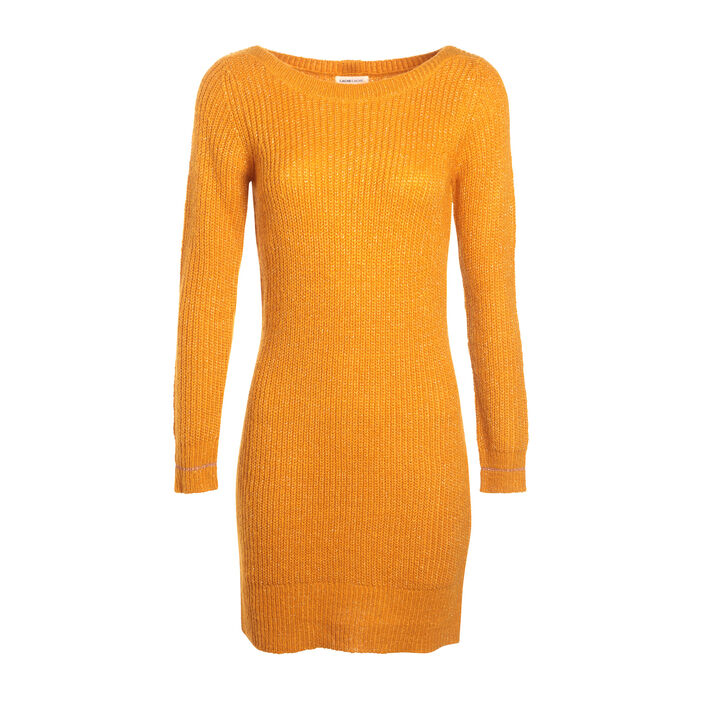 Robe pull manches longues jaune moutarde femme