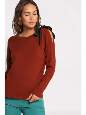 Pull manches longues nud marron cognac femme