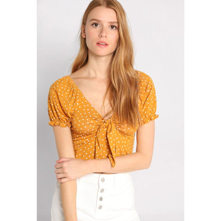 T-shirt manches courtes noeud jaune moutarde femme