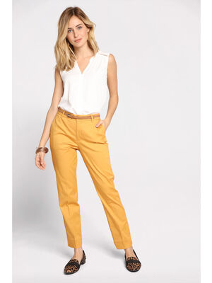 Pantalon city 78 4 poches jaune or femme