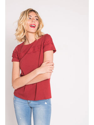 Top broderies poitrine rouge fonce femme
