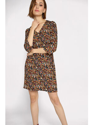 Robe col en V manches 34 multicolore femme
