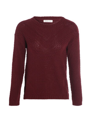 Pull manches longues en maille ajouree prune femme