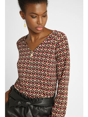 Blouse manches longues col V rouge femme
