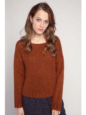 Pull doux a manches longues camel femme