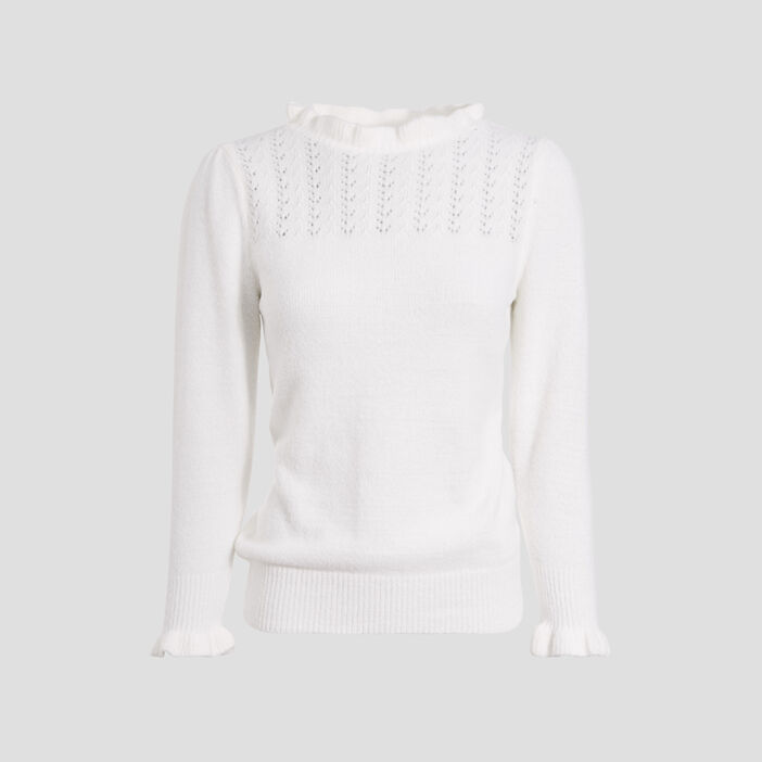 Pull manches 3/4 blanc femme