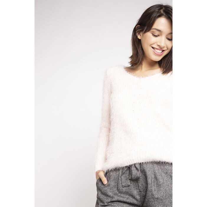0b76d6ee194 Pull shaggy manches longues col V rose clair femme femme