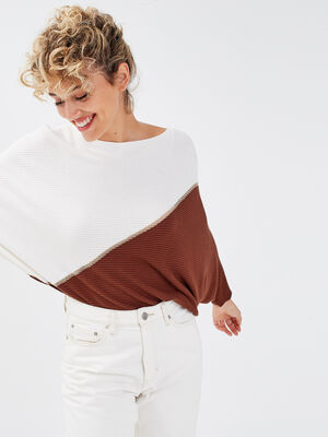 Pull manches 34 marron femme