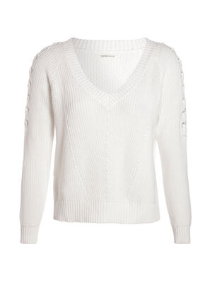 Pull manches longues a lacage ecru femme