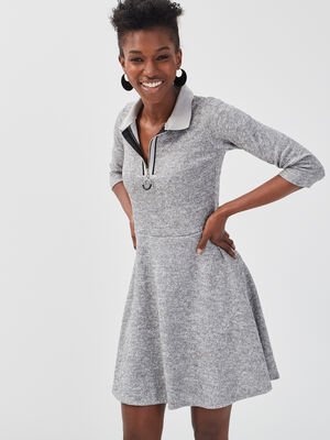 Robe patineuse col chemise gris clair femme