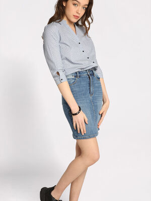 Jupe droite taille standard denim stone femme