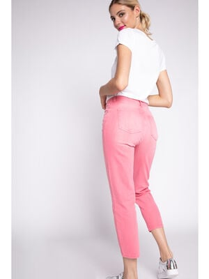 Jeans regular coton stretch rose femme