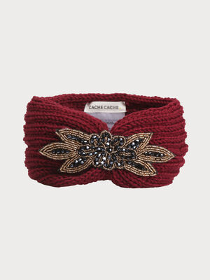 Headband maille a cotes perles rouge fonce femme