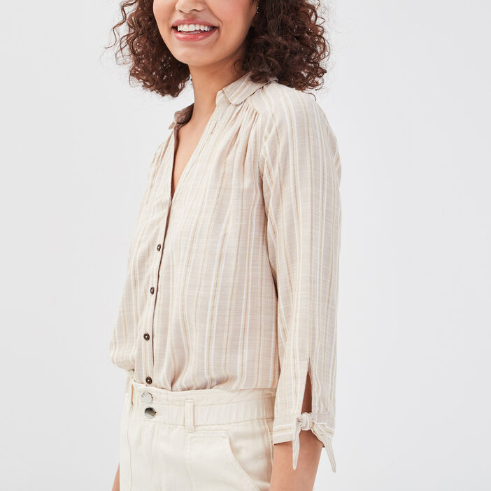 Chemise manches 3/4 beige femme