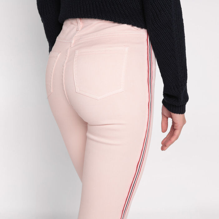 Jeans skinny bande sporty rose clair femme