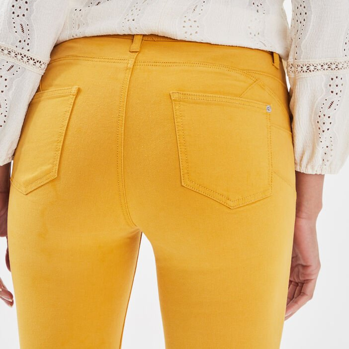 Jeans skinny push-up jaune moutarde femme