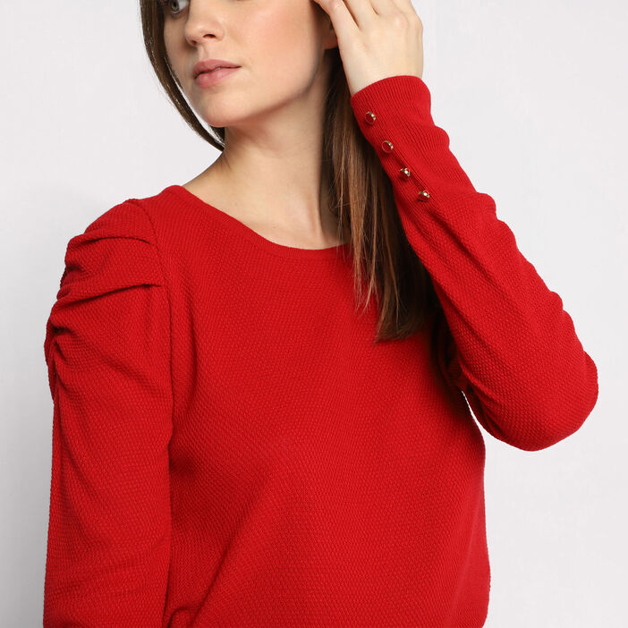 Pull manches gigots rouge femme