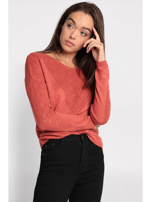 Pull manches longues terracotta femme