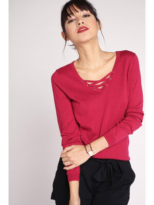 Pull fin lacage au col rouge clair femme