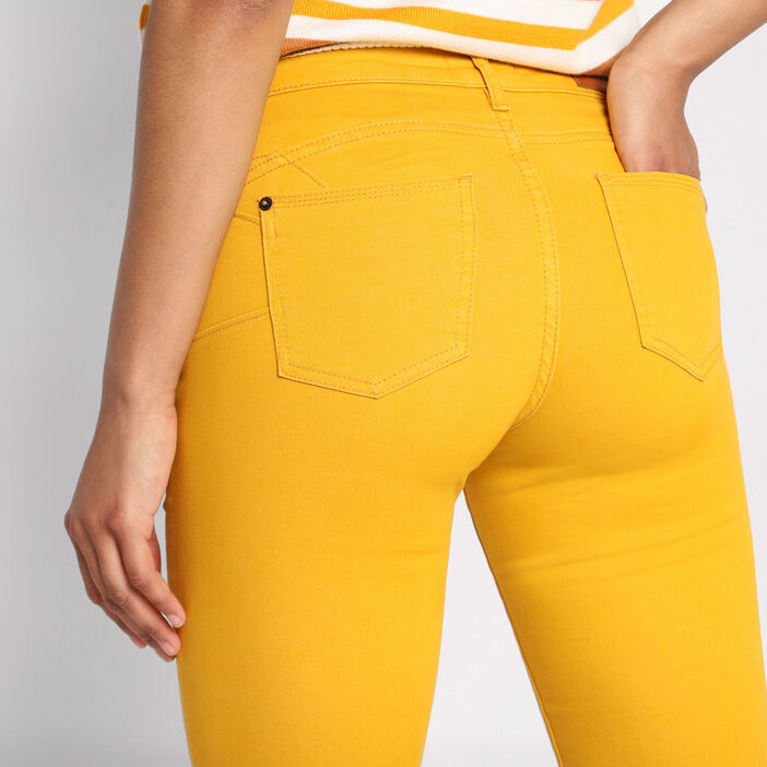 Jeans skinny push up jaune moutarde femme