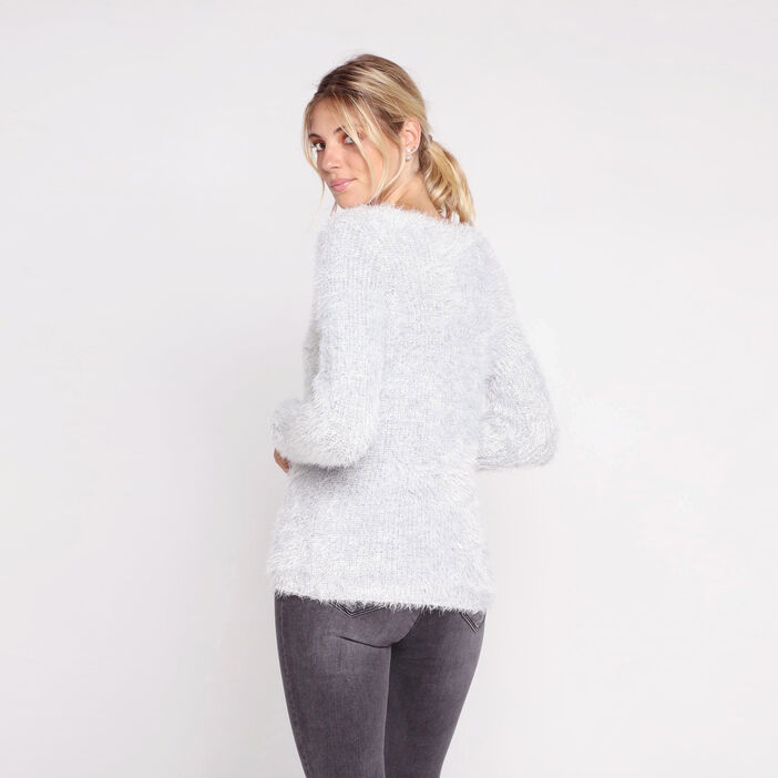 Pull shaggy manches longues col V gris clair femme