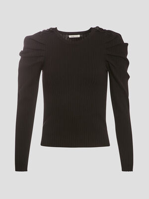 Pull manches froncees noir femme