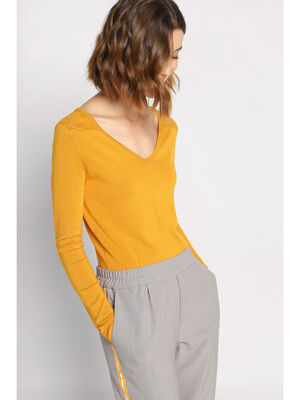 Pull manches longues col V jaune moutarde femme