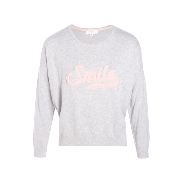 Pull message smiley gris clair femme