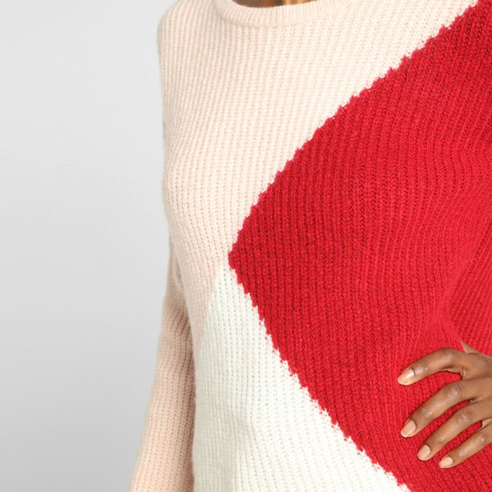 Pull manches longues col rond ivoire femme