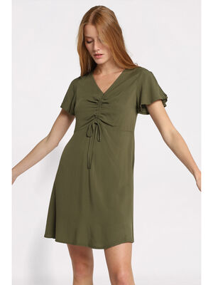Robe droite manches froncees vert femme