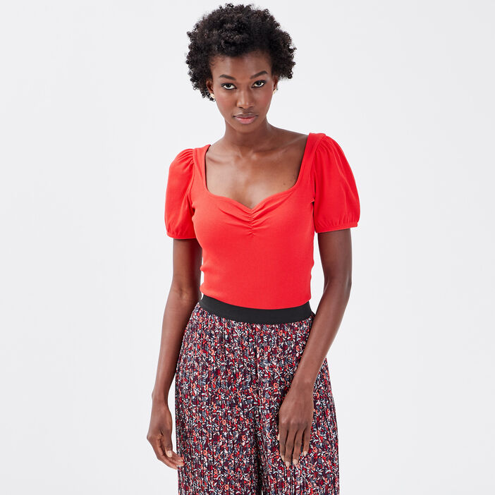 Body manches courtes rouge fluo femme