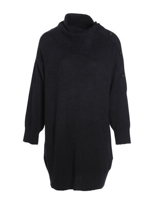 Robe ample tricot a boutons bleu marine femme