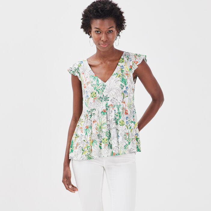 Blouse manches manches blanc femme