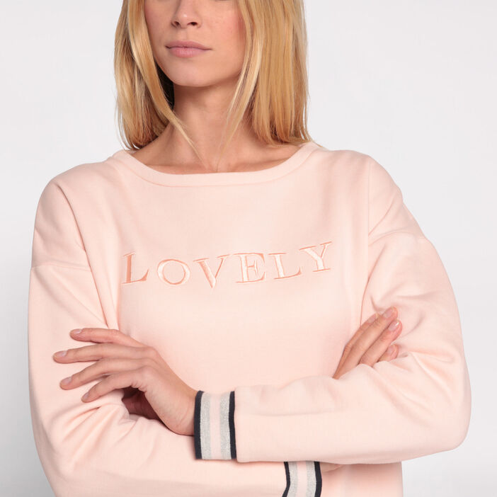 Sweat col rond rose clair femme