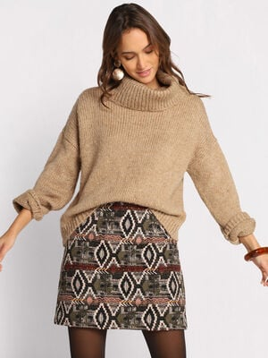 Pull col roule ample beige femme