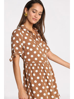Robe chemise manches nouees marron femme