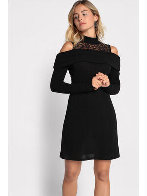 Robe pull col superpose noir femme