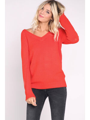 Pull manches longues en maille unie rouge femme