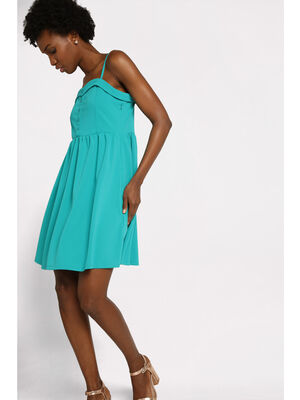 Robe courte evasee boutons bleu turquoise femme