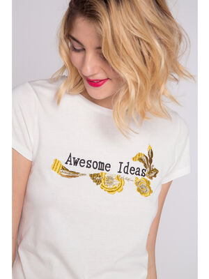 T shirt message et broderies blanc femme