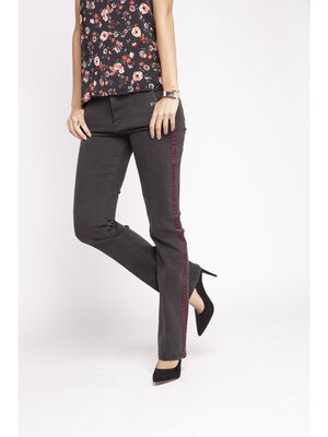 Jeans regular avec bande decorative denim noir femme