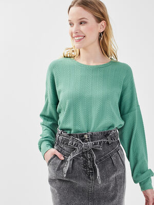 Sweat taille a coulisse vert clair femme