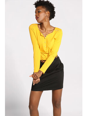 T shirt manches longues detail col jaune or femme