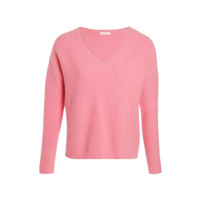 Pull tricotage fantaisie rose fluo femme