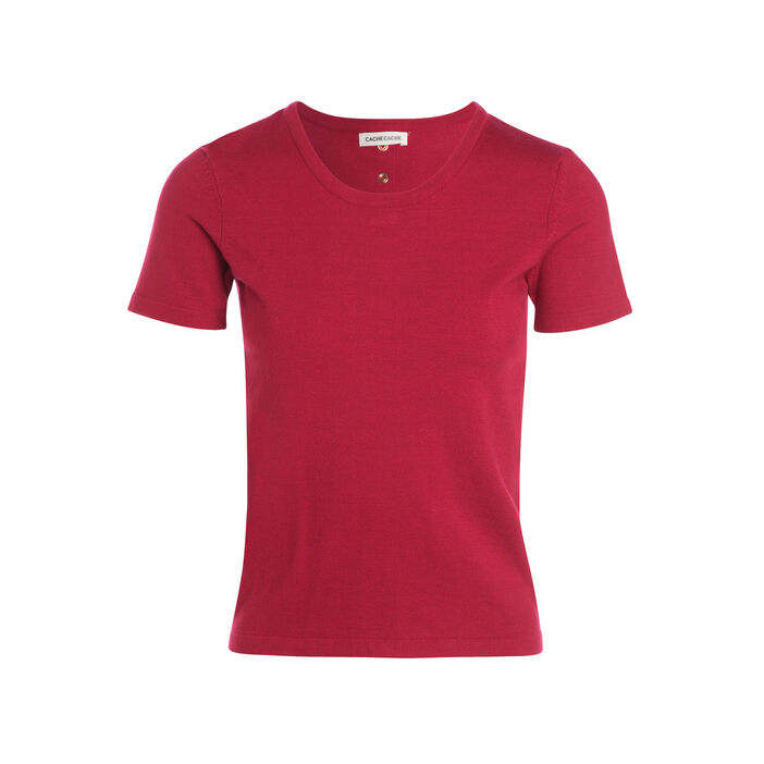 Pull manches courtes col rond rouge clair femme