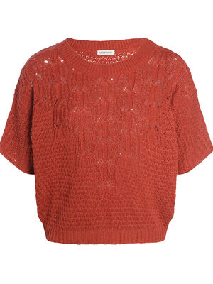 Pull manches courtes ajoure rouge femme