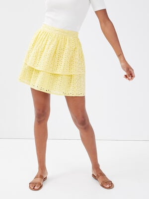 Jupe evasee broderie anglaise jaune pastel femme