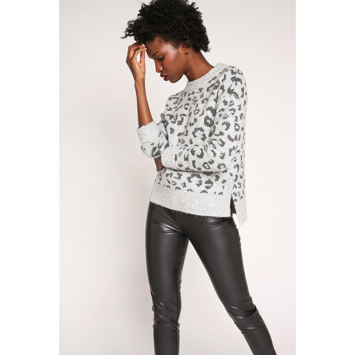 Pull manches longues motif animalier gris clair femme